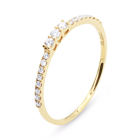 .FE-EVER 18K yellow gold pavé diamond ring