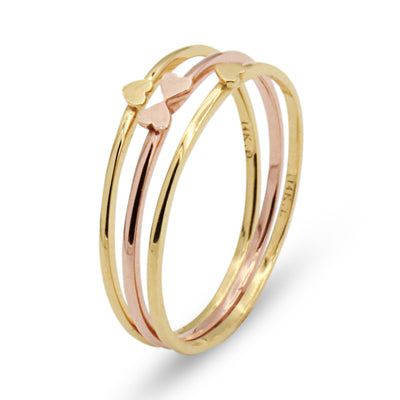 14K Heart Ring Set - MOVIDA