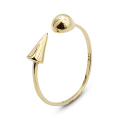 LYC 14K gold orb spike ring