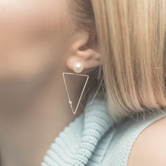 Venus Akoya pearl diamond triangle earrings