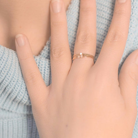.LYC 14K gold heart ring set