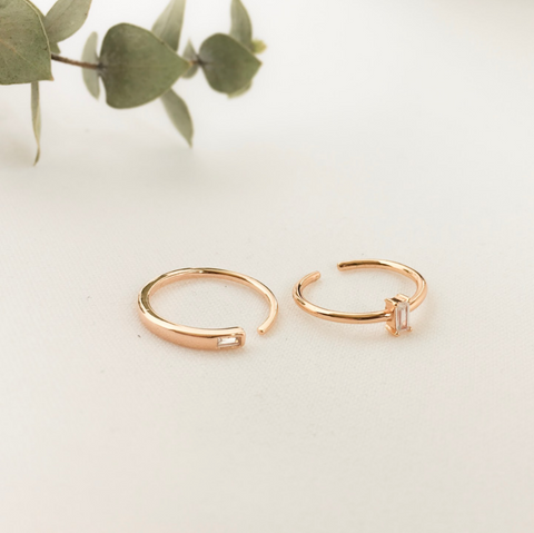 Krystal Baguette Ring Set
