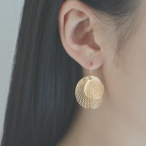 Textura stenciled gold earrings