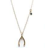 Wishbone blue diamond gold necklace