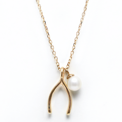 . Wishbone pearl gold necklace