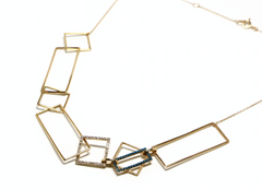 Lacuna white and blue diamond gold necklace