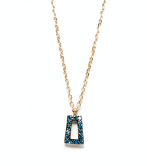 Ding blue diamond gold necklace