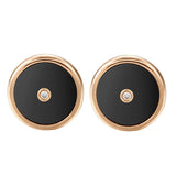 .Lone star black agate ear studs
