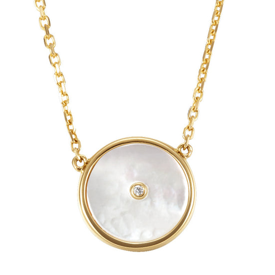 ahwong lone star white necklace movida independent designer jewelry fashion style mother-of-pearl yellow gold 18k