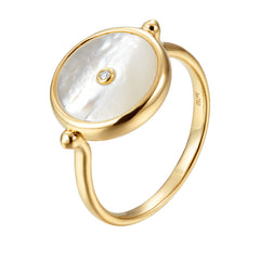 ahwong movida jewelry independent designer ring mother of pearl rose gold 18k gold