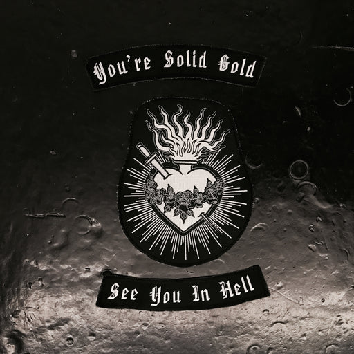 "mary wyatt london back patch with embroidered ""you're solid gold, see you in hell"""