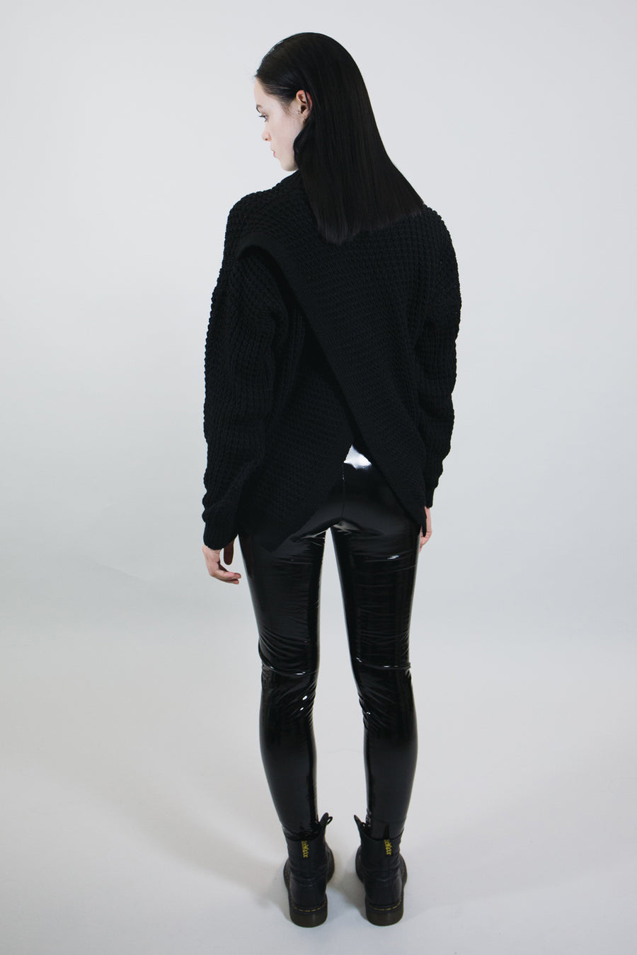 mary wyatt london black knit jumper with cross over back and high neck