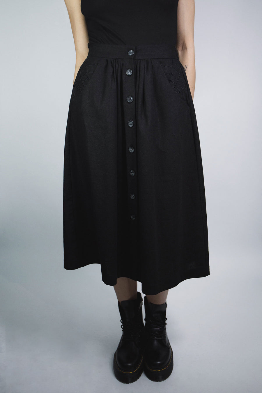 Lydia Button Down Midi Skirt