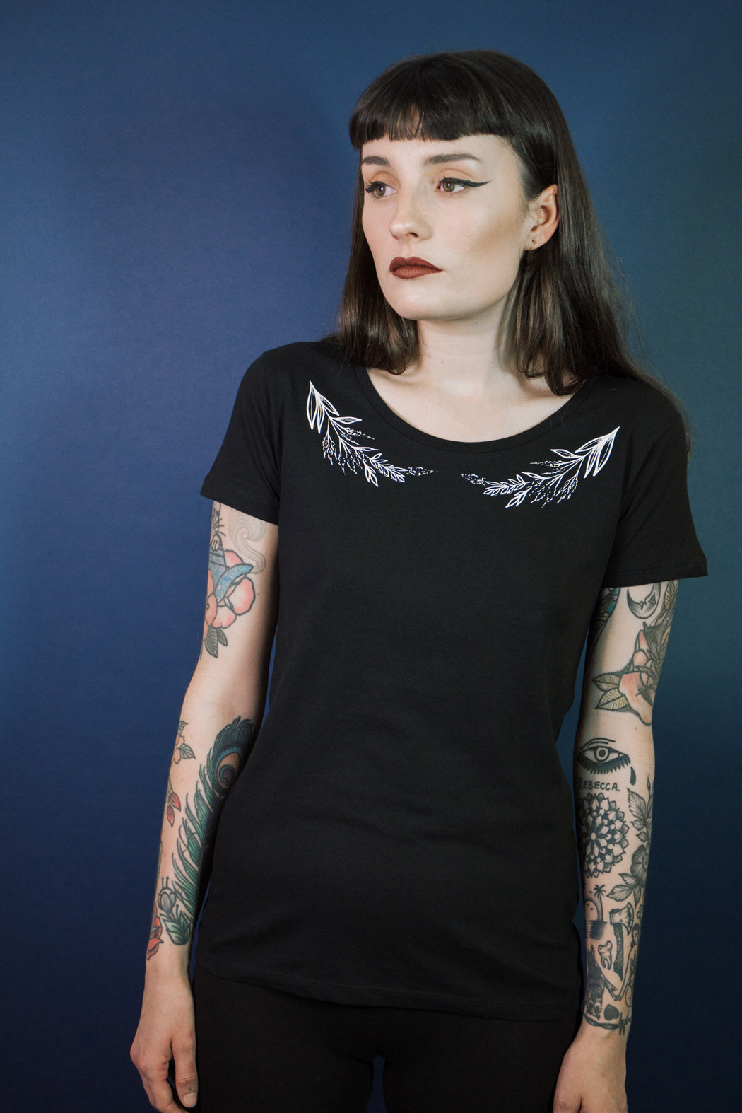 Mary wyatt london scoop neck tshirt with floral collar illustrated by rebecca vincent tattoo