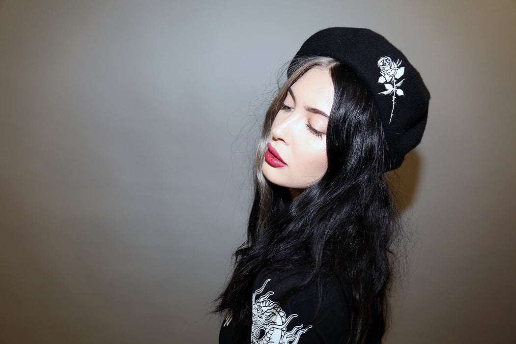 vegan black beret with rose embroidery