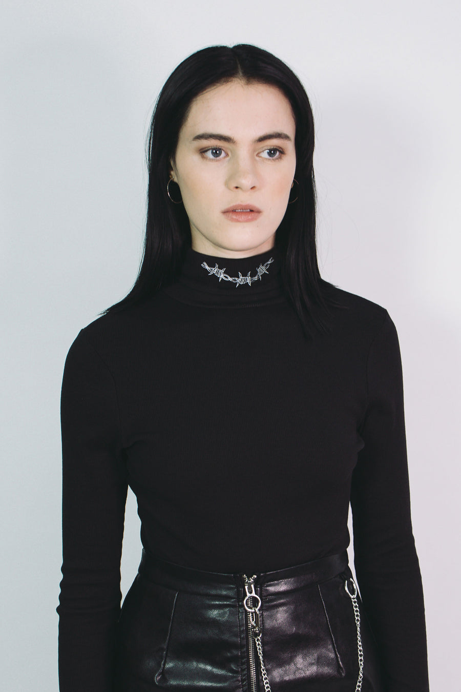 Bound Ribbed Roll Neck (Black)
