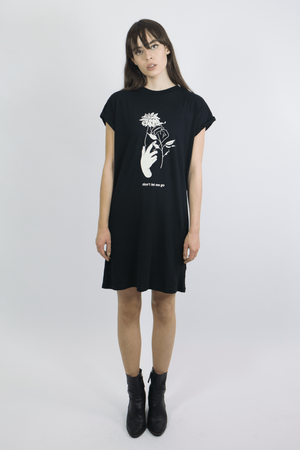 mary wyatt london black tshirt dress with flower illustration by death&milk