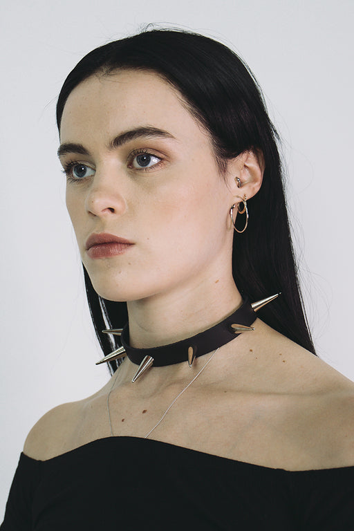 leather black spike choker mary wyatt