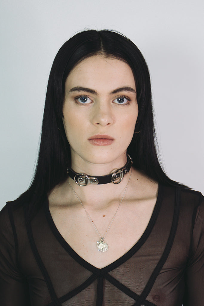 leather choker with rivets mary wyatt