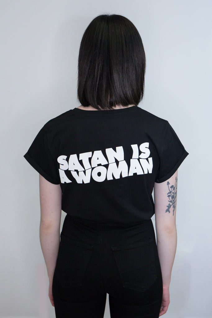 black cotton tshirt with back slogan print satan is a woman alternative goth womens fashion