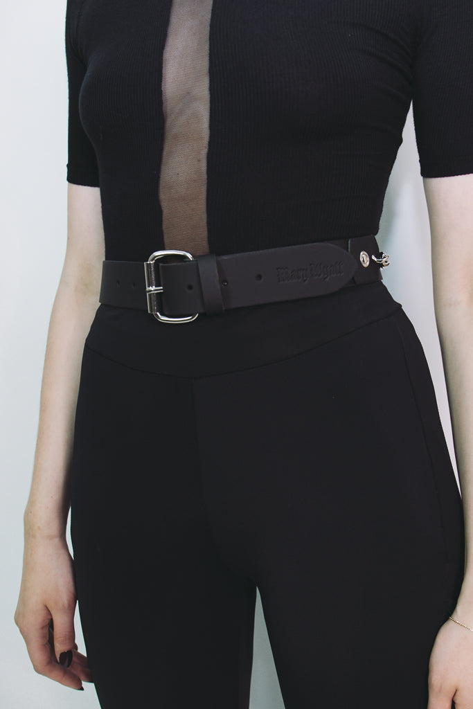 black leather chain belt london mary wyatt