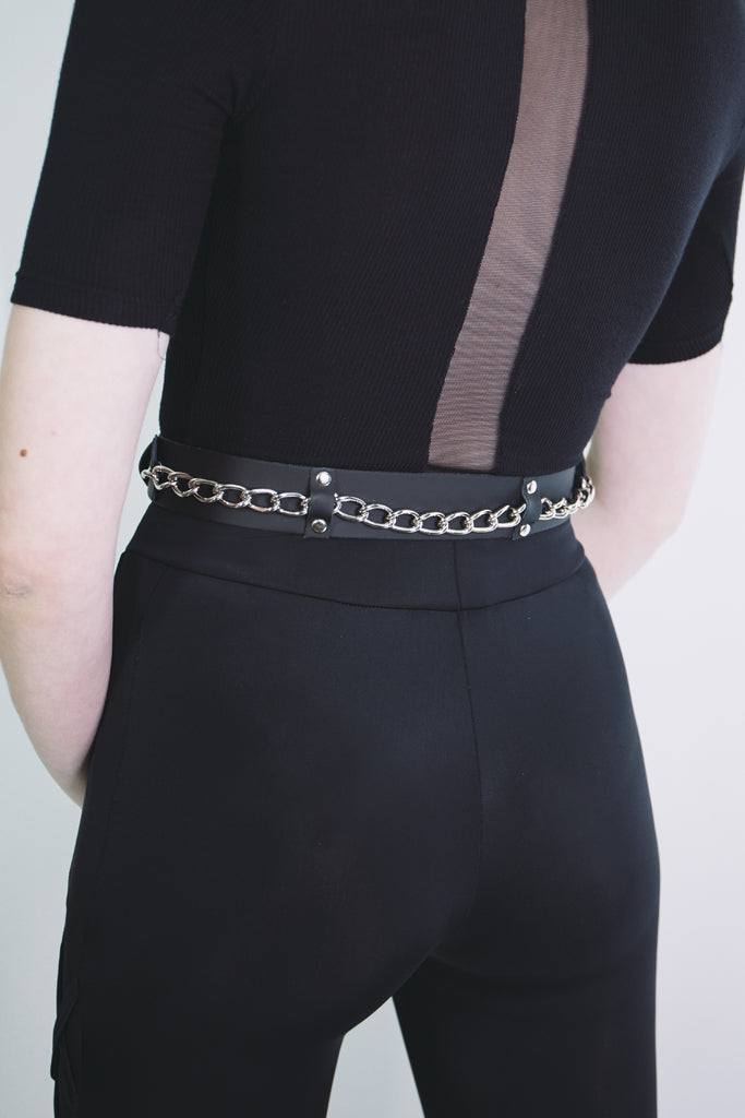 black leather chain belt london mary wyatt goth alternative accessories
