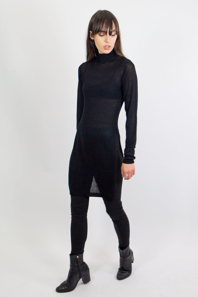 mary wyatt london black alternative knit high neck top with side splits