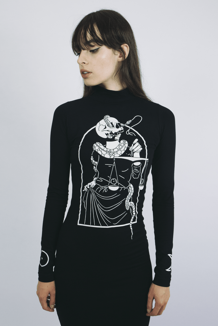mary wyatt london black high neck midi dress with illustration by death & milk alternative womens fashion