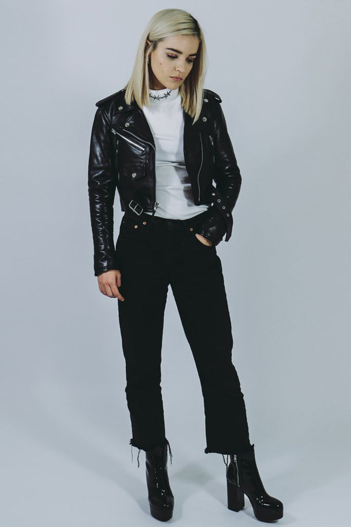 black leather cropped biker jacket handmade in london mary wyatt