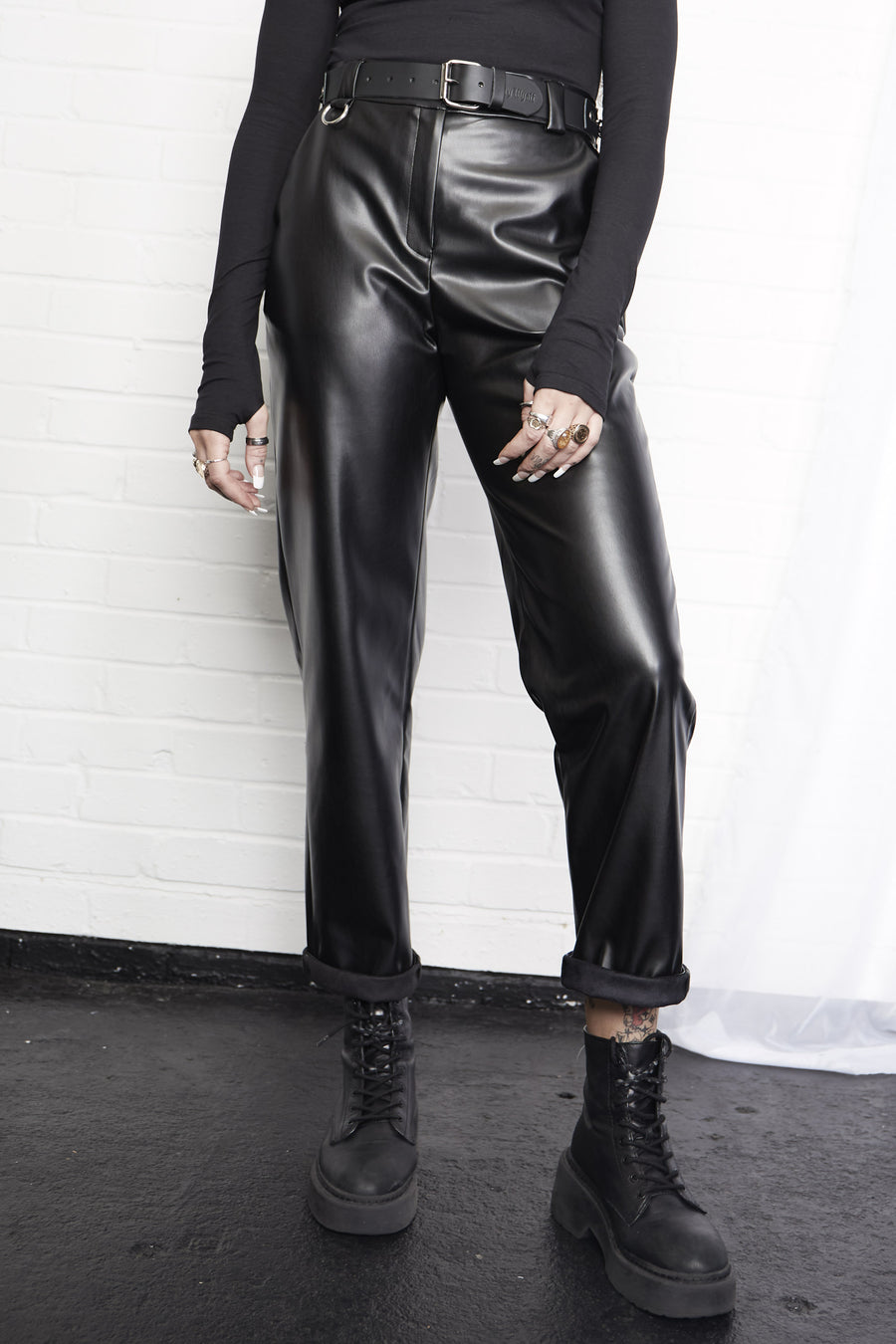 Regan Faux Leather O-Ring Trousers
