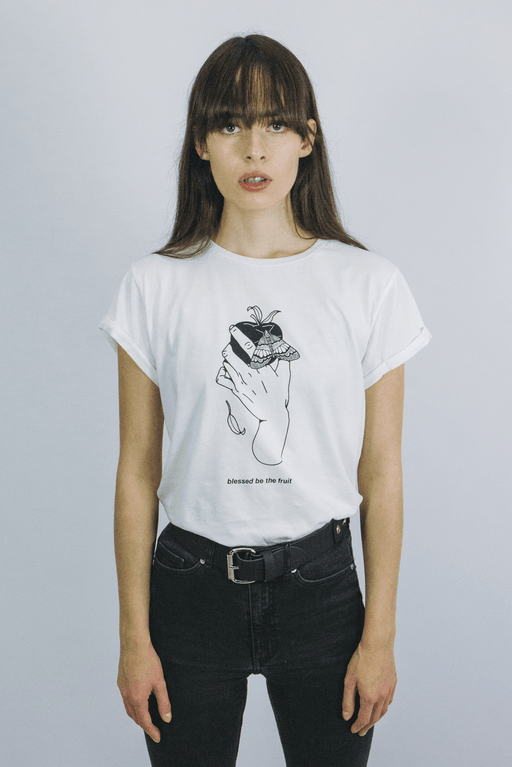 mary wyatt london cream tshirt with illustration by death & milk