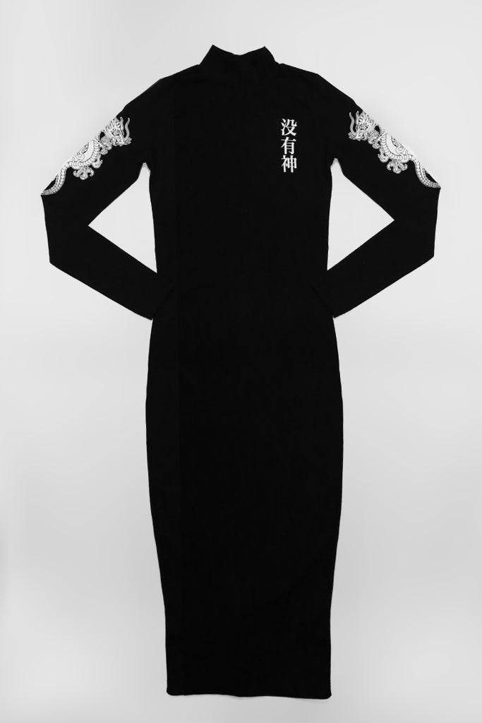 mary wyatt london black midi dress with dragon and chinese symbols alternative goth womens fahsion
