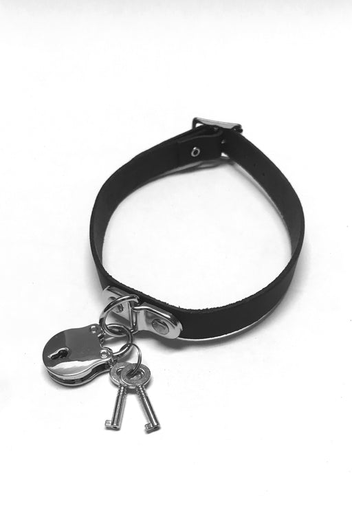 Saved Leather Padlock Choker