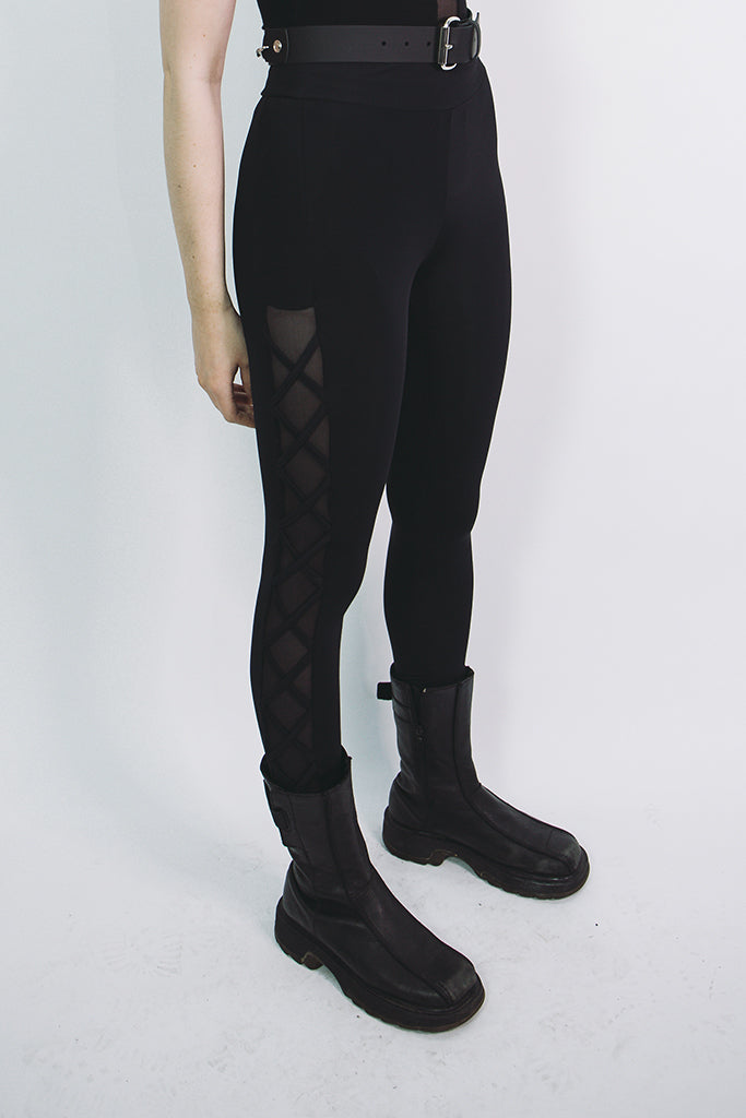 mary wyatt london black alternative leggings with side mesh panel and crossover pattern