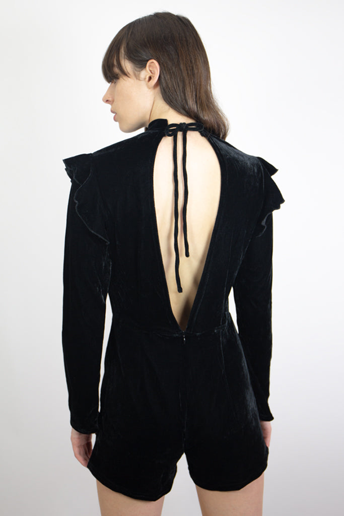 mary wyatt london black velvet playsuit iwth open back and neck tie detail