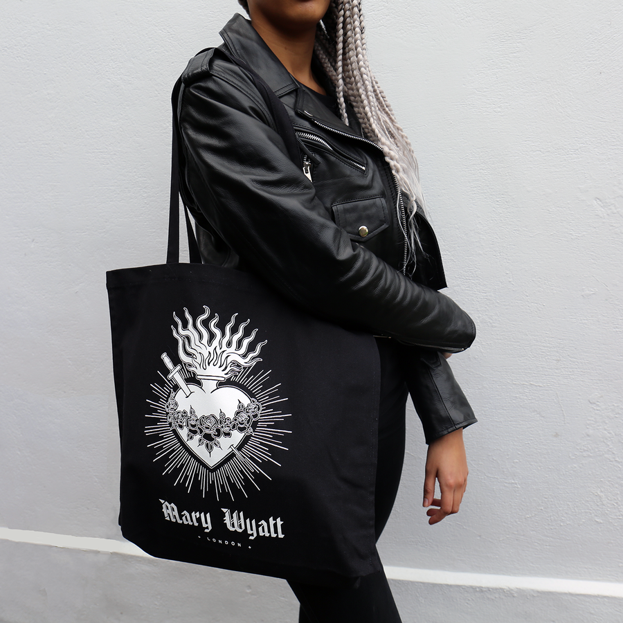 mary wyatt london black canvas bag with screen printed sacred heart illustration by scott move