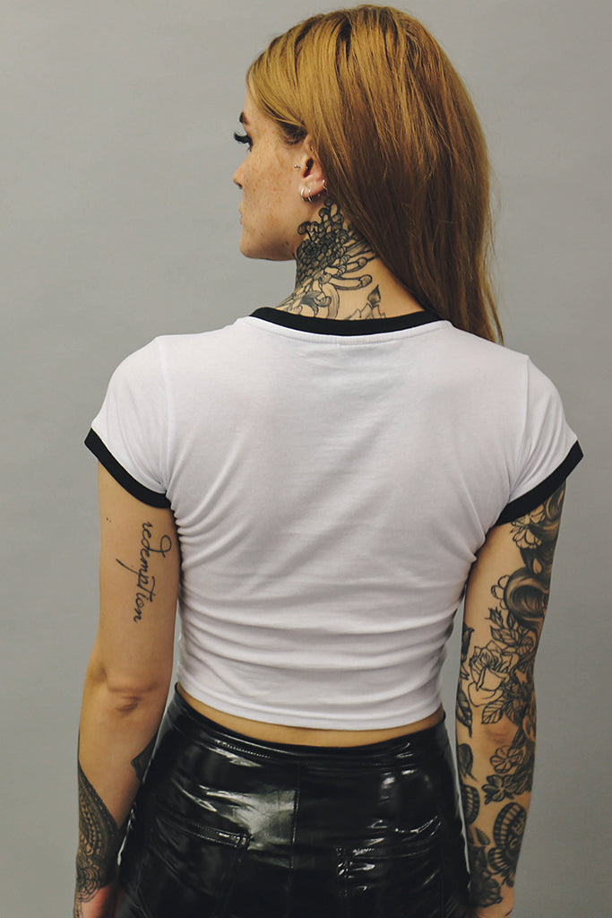 white crop top sinner tshirt goth alternative fashion london mary wyatt