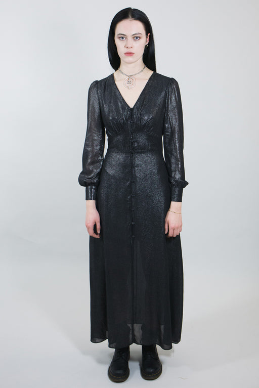 mary wyatt london alternative womens goth fashion long sparkly evening dress with buttons