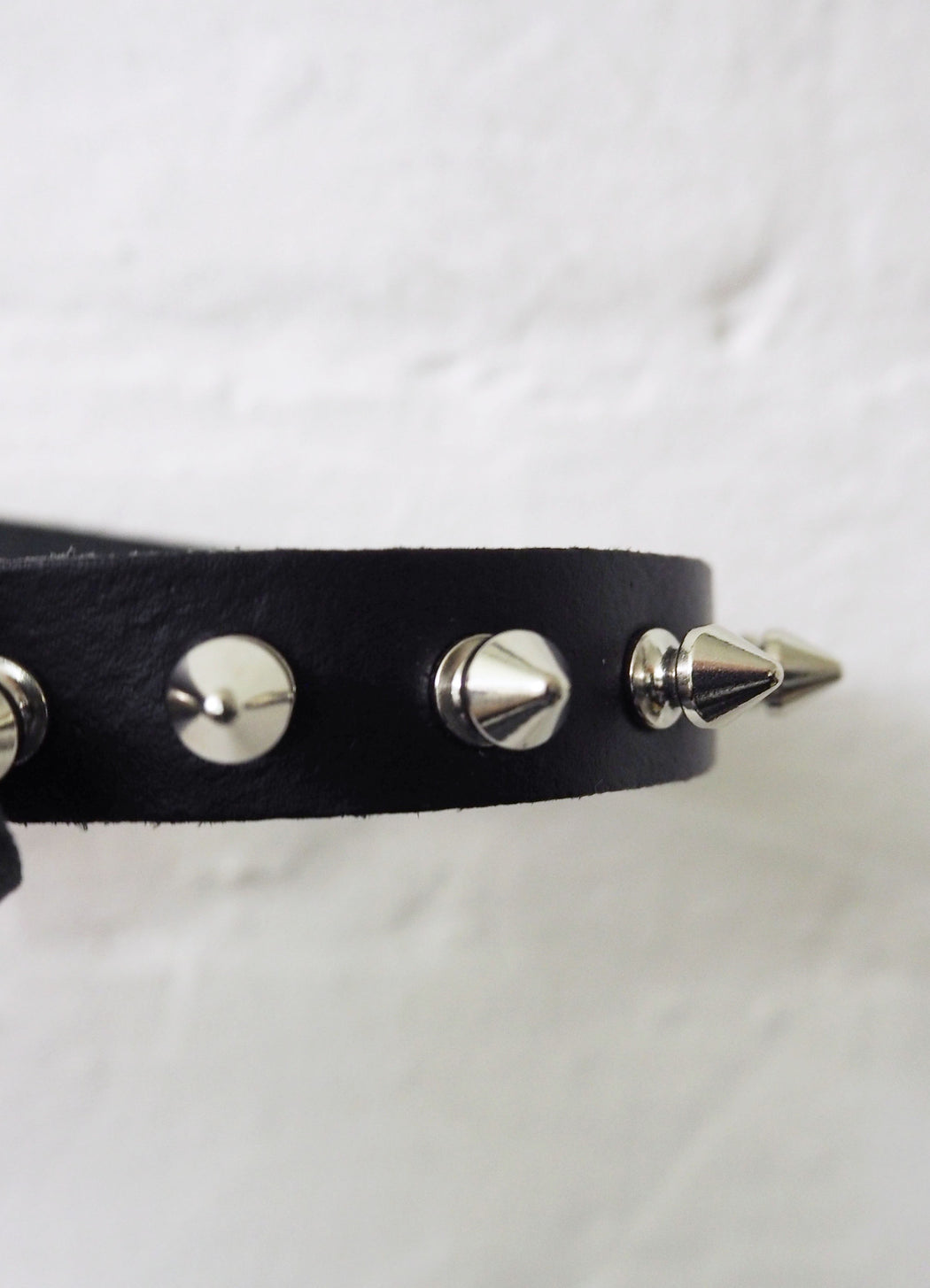 spiked black leather choker made in london mary wyatt