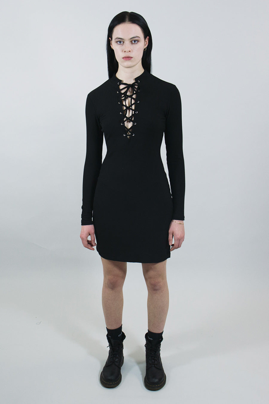 mary wyatt london black ribbed mini dress with lace up high neck alternative womens fashion
