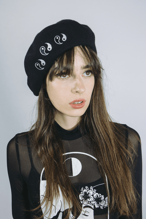 black wool beret yin yang womens alternative fashion goth london mary wyatt