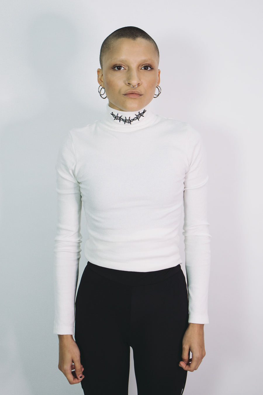 Bound Ribbed Roll Neck (Off-White)