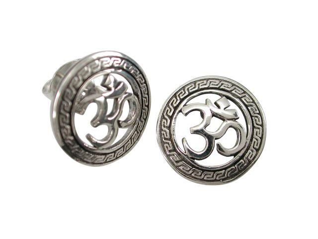 925 Sterling Silver Ohm Aum Om Hindu Buddhism Brahman Tibet Stud Earrings Set - SilverMania925