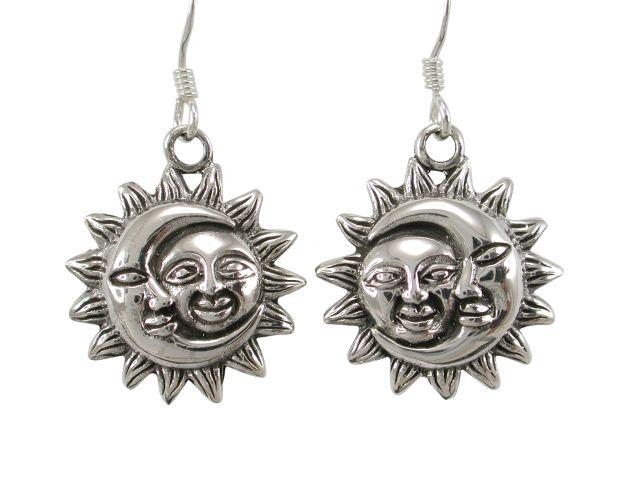 925 Sterling Silver Sun Crescent Moon Face Heaven Sky Dangle Earrings Set - SilverMania925