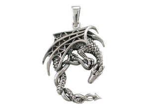 925 Sterling Silver Lunar Crescent Moon Gothic Dragon Big Pendant 8gr - SilverMania925