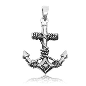 925 Sterling Silver Nautical Navy Sailor Ship Anchor Boat Rope Pendant