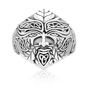 925 Sterling Silver Green Man Celtic Pagan Ring - SilverMania925