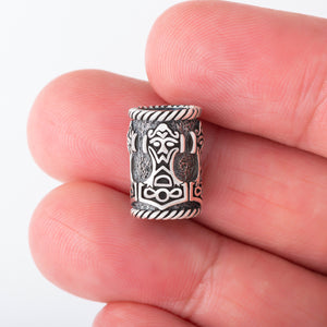 Sterling Silver Viking Beard Bead with Mjolnir and Odin