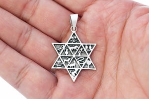 Sterling Silver 12 Tribes of Israel with Star of David Pendant