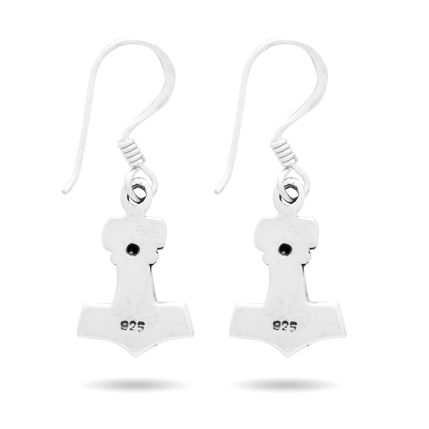 925 Sterling Silver Viking Mjolnir Earrings Set with Skull